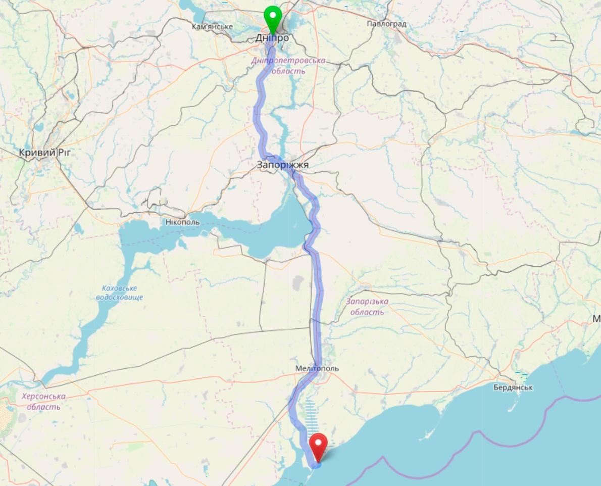 Схема проезда из Днепра в Кирилловку