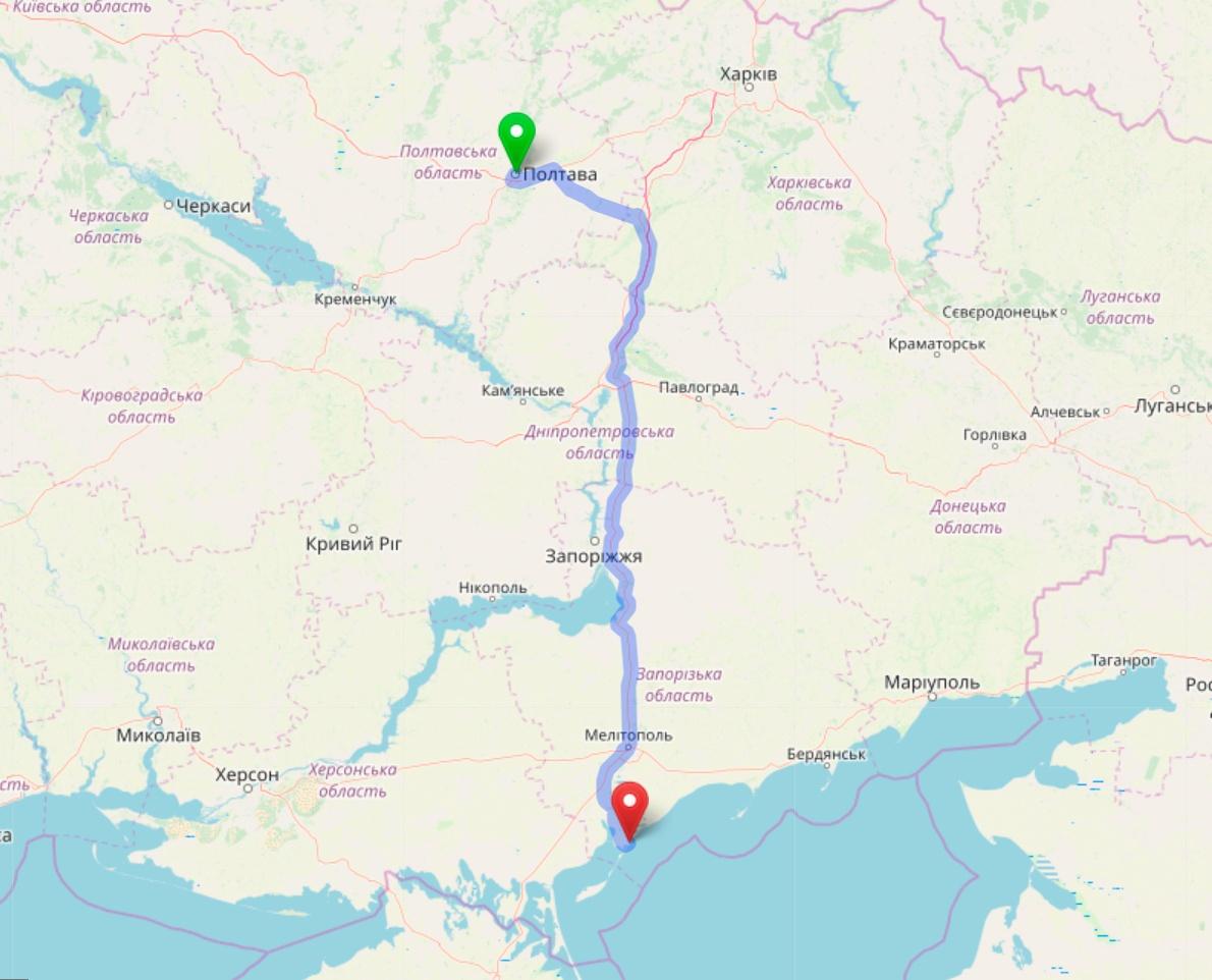 Схема проезда из Полтавы в Кирилловку