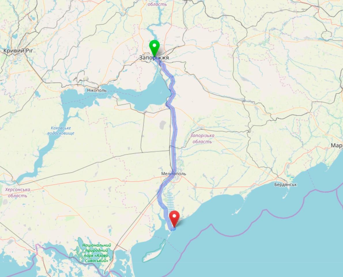 Схема проезда из Запорожья в Кирилловку